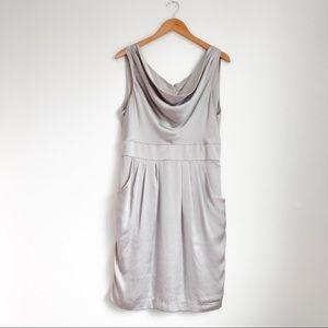 H&M Gray Sleeveless Silky Dress with Pockets
